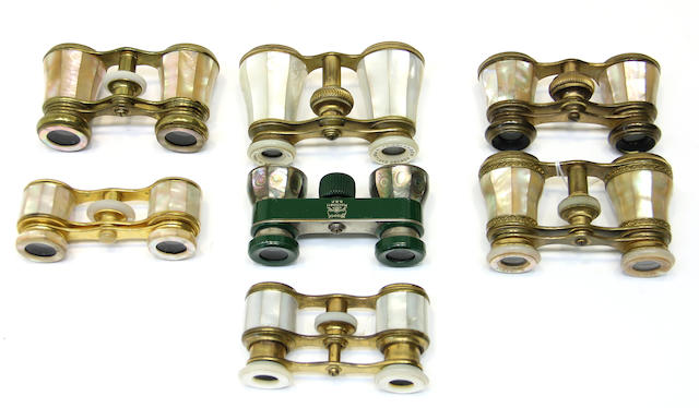 Seven French mother-of-pearl opera glasses