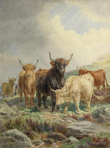 James Walsham Baldock (British, 1822-1898)<BR />Highland Cattle<BR />watercolor<BR />16 x 12 inches