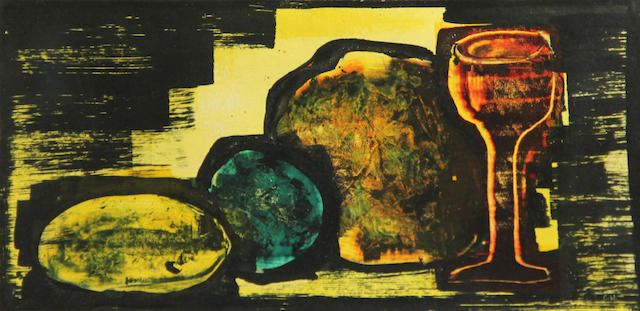 Cady Wells (American, 1904-1954) Wine glass and fruit 4 3/4 x 10 1/4in