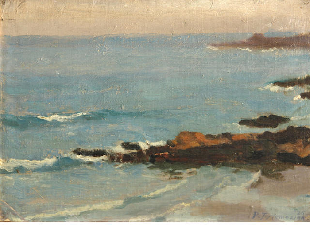 Panos Terlemezian (Armenian, 1865-1941) California coastal view, 1926 9 x 12in