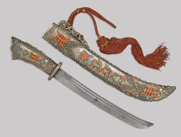A coral, turqoise and silver-mounted short sword -Select US Arms Type-