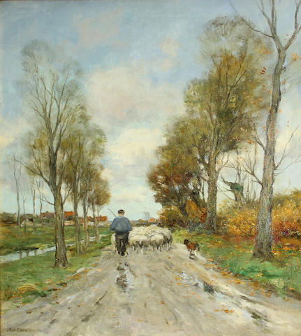 Charles Paul Gruppe (American, 1860-1940) Homeward way 30 x 24 1/4in