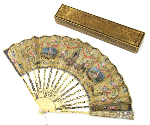 A French fan with painted silk leaf applied with sequins and gold threads third quarter 18th century