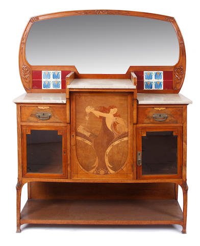 A Continental Art Nouveau marquetry, fruitwood and tile sideboard