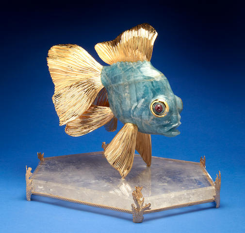 Large Aquamarine Carving of a Dragon Goldfish