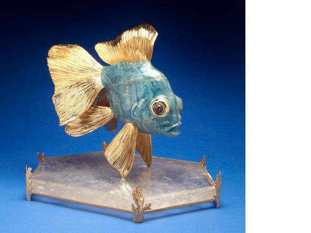 Large Aquamarine Carving of a Dragon Goldfish