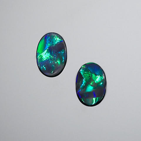 Fine Pair of Black Opals