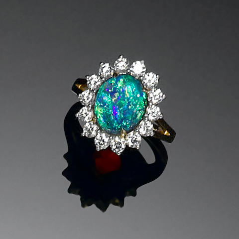 Black Crystal Opal and Diamond Ring