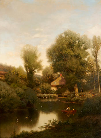 Henry Pember Smith (American, 1854-1907) Late Afternoon on a Mill Brook 40 x 30in