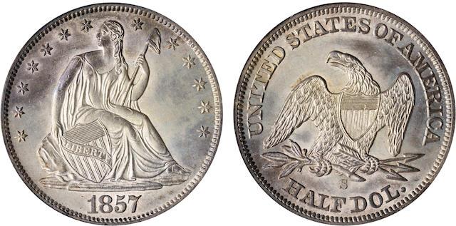 1857-S 50C MS62 PCGS