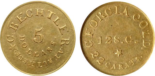 Rutherf. 128G $5 Bechtler MS62 NGC