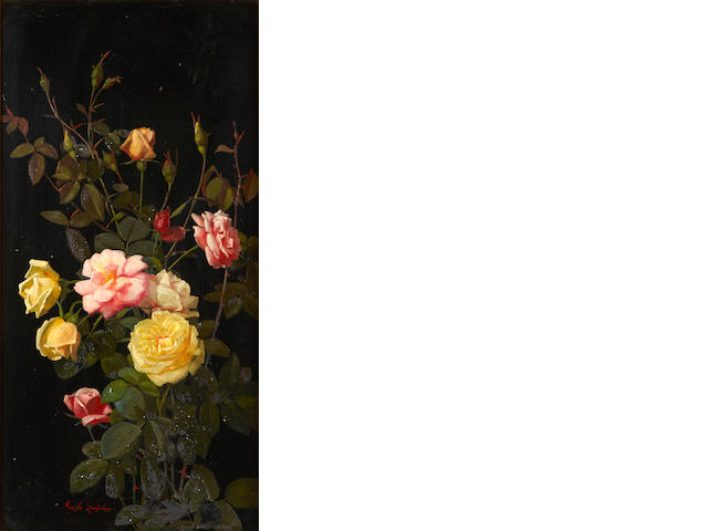 George Cochran Lambdin (American, 1830-1896) Cuttings of pink and yellow roses 24 x 12in