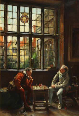 Frank Moss Bennett (British, 1874-1952) The chess game 20 x 14in