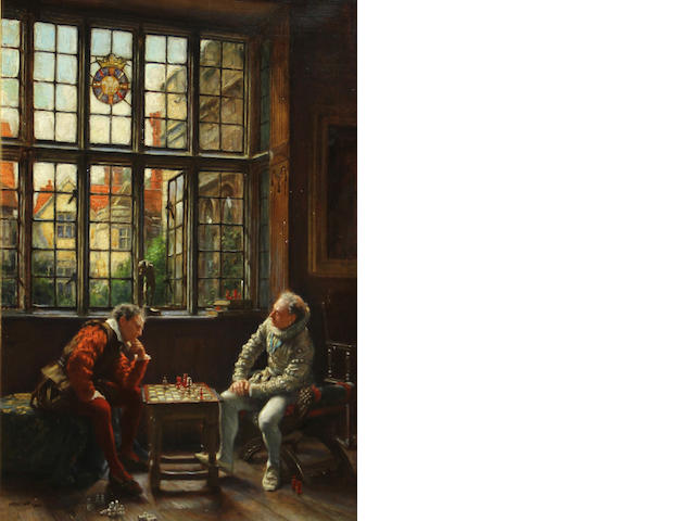 Frank Moss Bennett (British, 1874-1953)<BR />Men Playing Chess<BR />oil on canvas<BR />20 x 13 1/2 inches