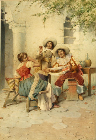 Francesco Ballesio (Italian, 1860-1923)<BR />Cavaliers and a Tavern Girl<BR />watercolor<BR />21 x 14 inches