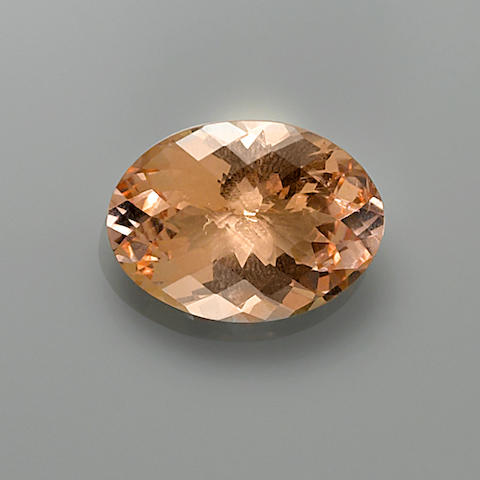 Beryl var Morganite, checkerboard top, 33.36 carats