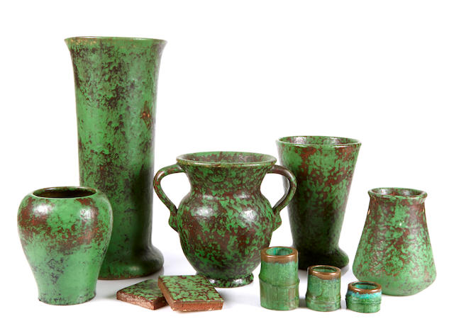 A group of sixteen Weller Coppertone pottery articles  line introduced circa 1929