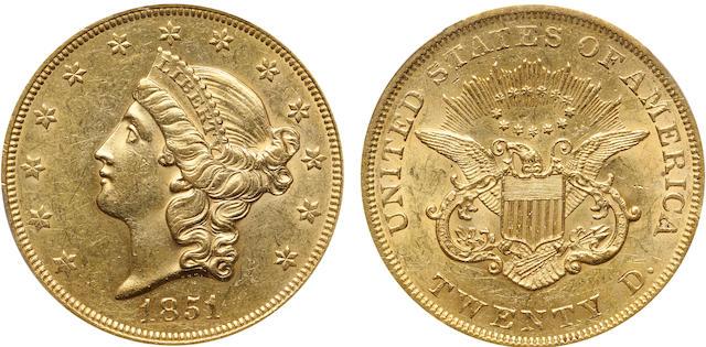 1851 $20 AU55 PCGS