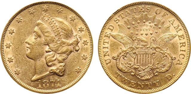 1874 $20 AU53 PCGS
