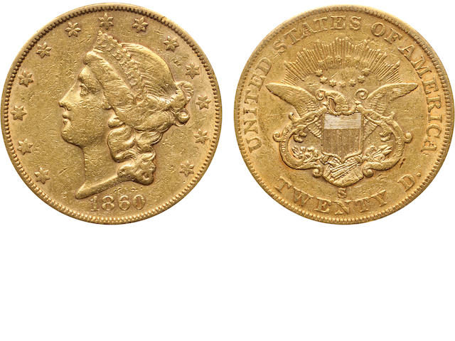 1860-S $20 AU53 PCGS