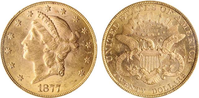 1877 $20 MS61 PCGS
