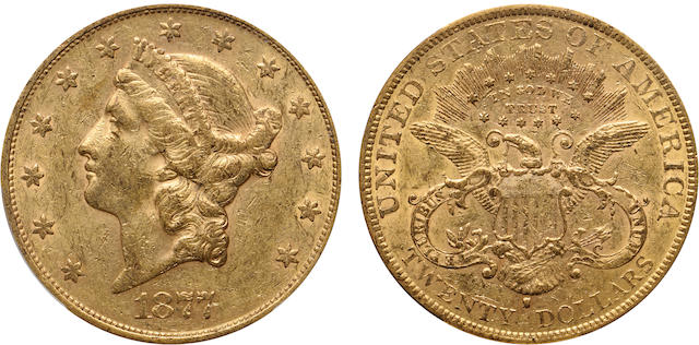 1877-S $20 AU50 PCGS