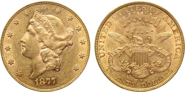 1877-S $20 AU55 PCGS