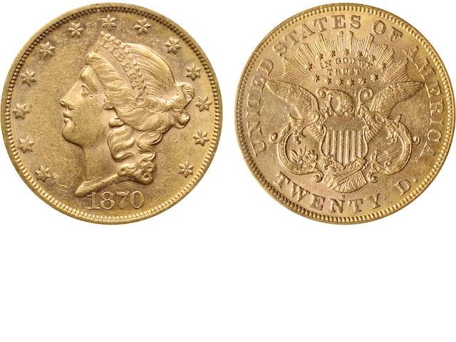 1870-S $20 AU58 PCGS