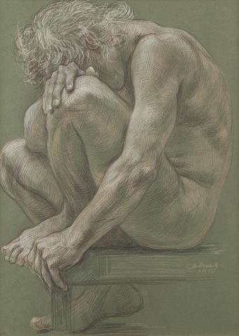 Paul Cadmus (American, 1904-1999) Male Nude NM197 23 1/2 x 18 1/2in