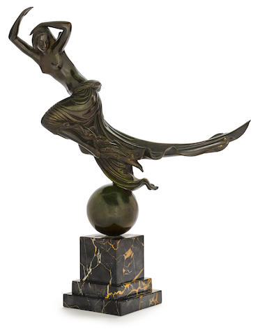 Paul Howard Manship (American, 1885-1966) Flight of Night 13 1/2in high on a marble base 4in high