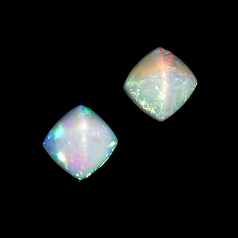 Pair of White Crystal Opals
