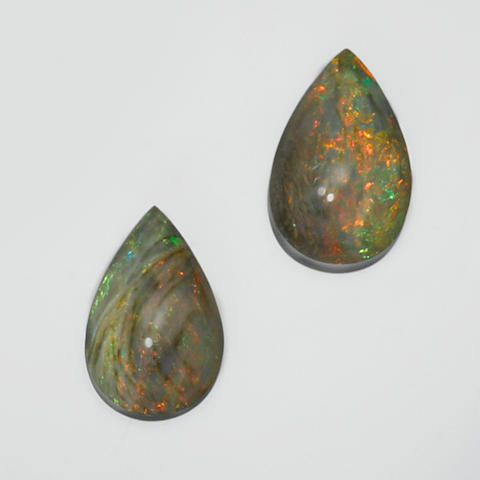 Stunning Pair of Black Crystal Opals