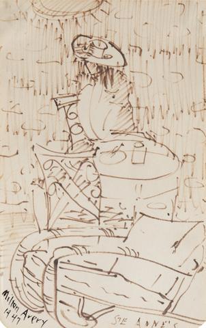 Milton Avery (American, 1893-1965) Ste. Anne, Manitoba, Canada 7 1/2 x 4 3/4in