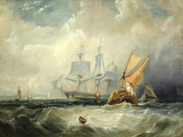 English School, 19th Century Shipping offshore in a choppy sea 18 1/4 x 24in