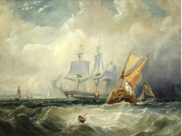 English School (19th century) Shipping offshore in a choppy sea  oil on canvas 18 1/4 x 24in
