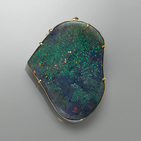 "Stunning, Large Black Crystal Opal Pendant--""The Galaxy Opal"""