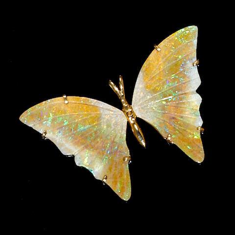 Andamooka Opal Butterfly Pendant