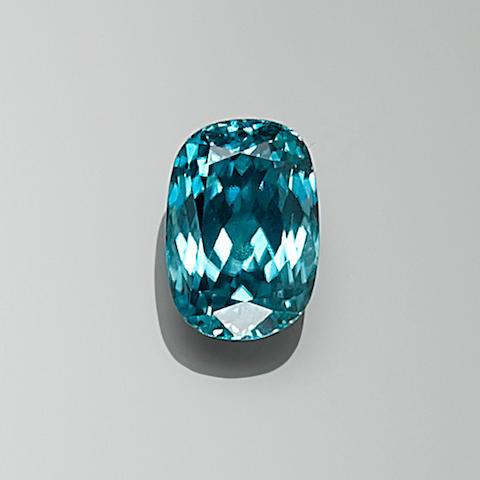 Blue Zircon, 22.18 cts. Cambodia