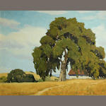Joseph Hastings Bennett (American, 1889-1969) Oak tree by a country home 16 x 20in