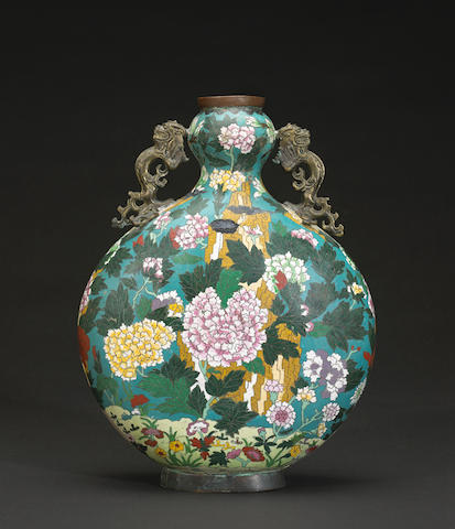 A Chinese cloisonne moon flask
