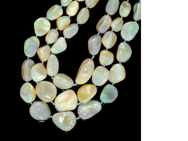 Impressive White Opal Bib Necklace