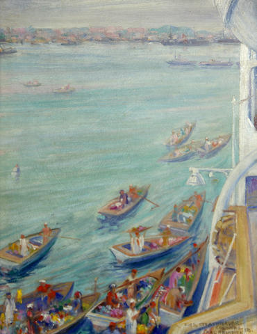 Carl W. Brandien (American, 1886-1965) View from the R.M.S Strathnaver, Colombo, Sri Lanka, 1938 12 x 9in
