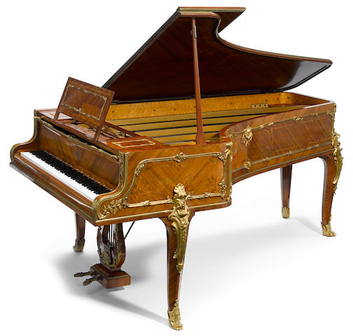 "A fine quality French gilt bronze mounted marquetry inlaid mahogany 7'6"" grand piano  by Érard  circa 1914"