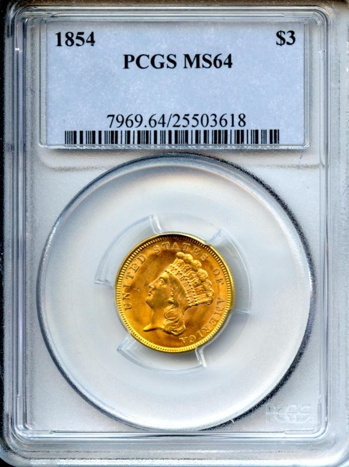 1854 $3 MS64 PCGS