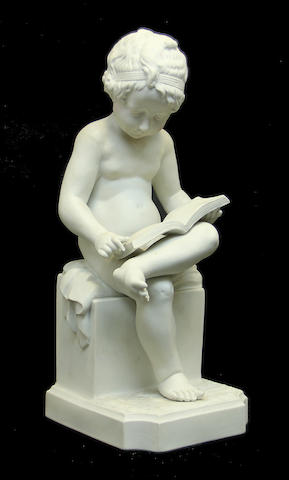 A bisque porcelain figure of a child: L'Enfant Lisant after Charles Gabriel Sauvage Lemire (French, 1741-1827) second half 20th century