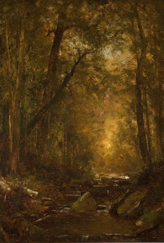 Worthington Whittredge (American, 1820-1910) A Catskill Brook 22 x 15in