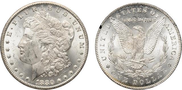 1880-CC 8/7 Reverse of 1878 $1 GSA MS62 NGC