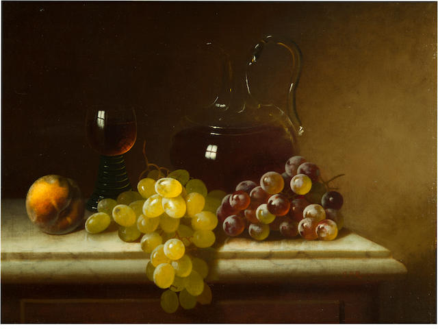 Carducius Plantagenet Ream (American, 1837-1917) Claret, jug and fruit 15 x 20in