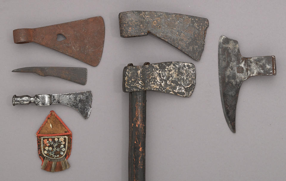 A lot of three tomahawk heads and an Eastern Woodland quilled panel -Select US Arms Type-