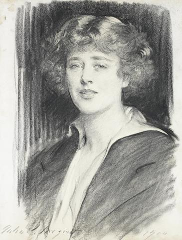 John Singer Sargent RA (American, 1856-1925) Portrait of Mrs 'Mignon' Maguire 24 x 19in